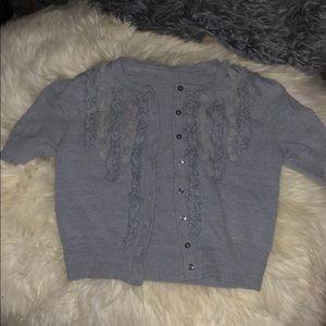 CUTE 2000s GREY SOFT Cropped Cardigan Sweater